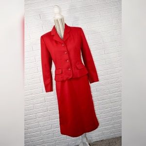 Vtg Pendleton | Red Wool 2 Piece Jacket Skirt Set